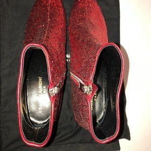 0b86975788d Yves Saint Laurent Shoes - YVES SAINT LAURENT RED GLITTER BOOTS